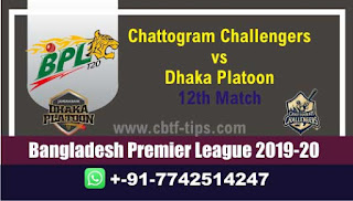 Who will win Today BPL T20, 12th Match Dhaka vs Chattogram - Cricfrog