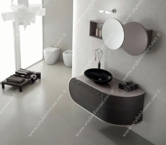 Black N White Bathroom: Stylish Attractive Bathroom Furniture Interior Black And