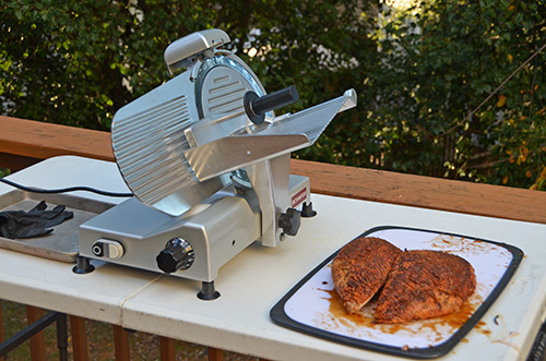 My slicer is a Beswood 250.  It's a good compromise between a home slicer and a commercial one.