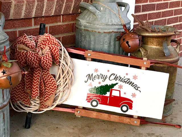 Vintage Sled with Vinyl Decal by Thistle Thicket Studio. www.thistlethicketstudio.com