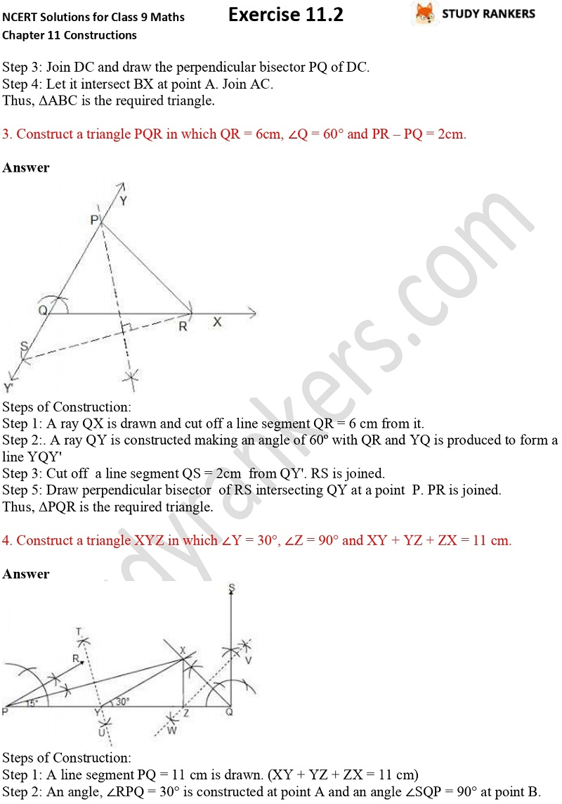 NCERT Solutions for Class 9 Maths Chapter 11 Constructions Exercise 11.2 Part 2
