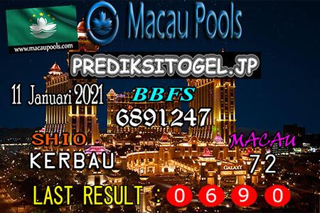Prediksi Togel Wangsit Macau Pools Senin 11 Januari 2021
