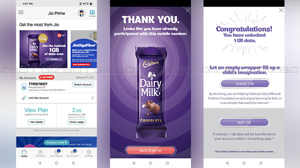 Reliance Jio giving 1 GB free data with dairy milk chocolate