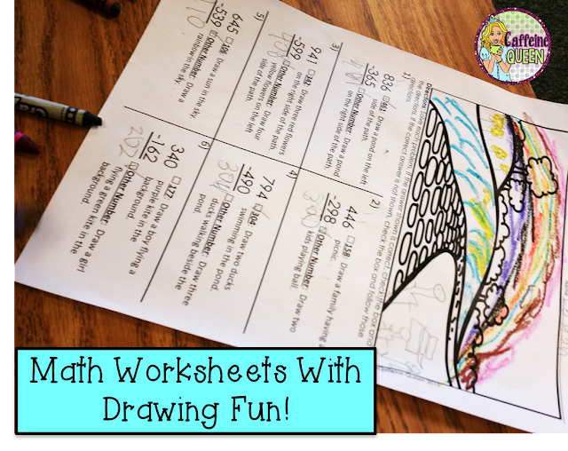 Subtraction Solve and Draw - No Prep - Great for Early Finishers and Subs!