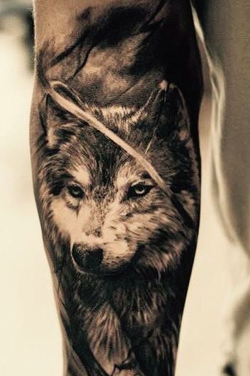 wolf forearm tattoo for men