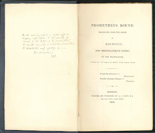 "A title page for ""Prometheus Bound,"" with an inscription on the opposite page."