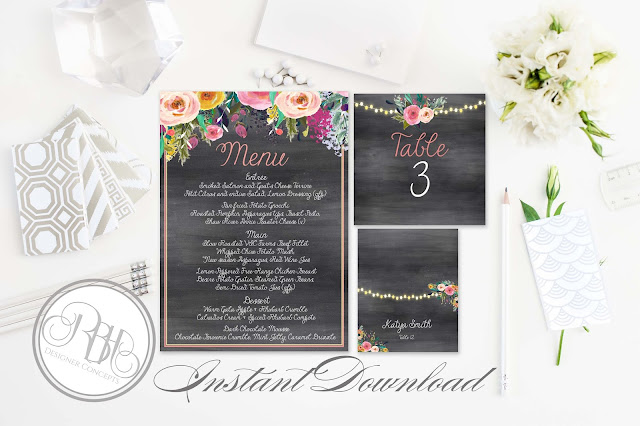 watercolour boho wedding package by rbhdesignerconcepts.com