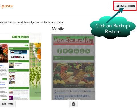 click on backup/restore