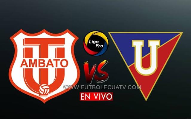 Técnico Universitario recibe a Liga de Quito en vivo a partir de las 19h30 hora local, continuando la fecha catorce de la Liga Pro Ecuador siendo transmitido por GOLTV a efectuarse en el estadio Bellavista. Con arbitraje principal de Marlon Vera.