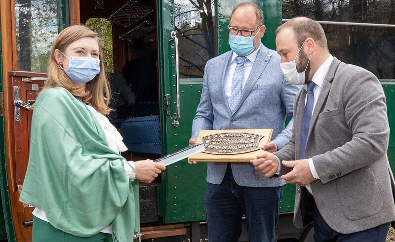 Princess Stephanie wore a green trousers by Boden, and silk blouse by Paule Ka, at Railway Museum and Tourism Association