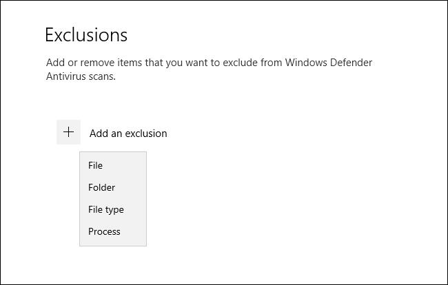 قائمة أنواع الاستبعاد في أمان Windows لنظام التشغيل Windows 10