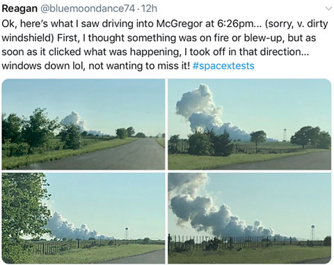 SpaceX rocket engine test in McGregor, TX (Source: Twitter feed from Reagan, @bluemoondance72)