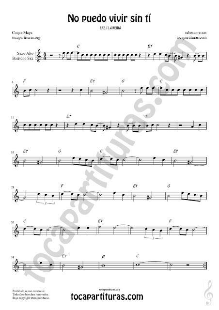 Saxofón Alto y Sax Barítono Partitura de No puedo vivir sin tí Sheet Music for Alto and Baritone Saxophone Music Scores
