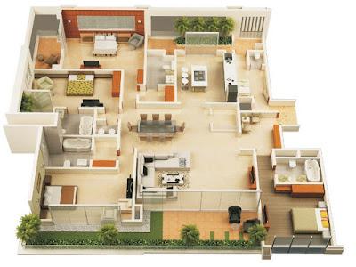 gambar desain rumah minimalis 4 kamar tidur 3d | rancanghunian