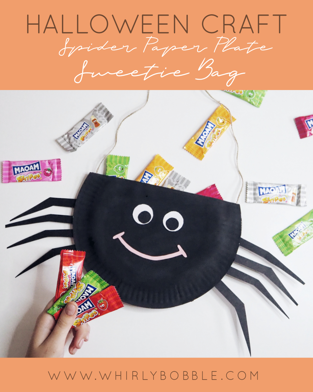 Halloween Paper Plate Craft: Spider sweet bag