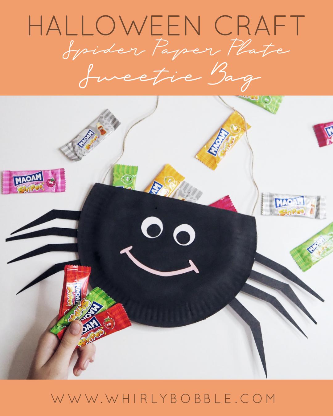 Halloween Paper Plate Craft: Spider sweet bag