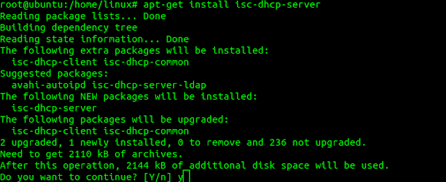 install dhcp server ubuntu