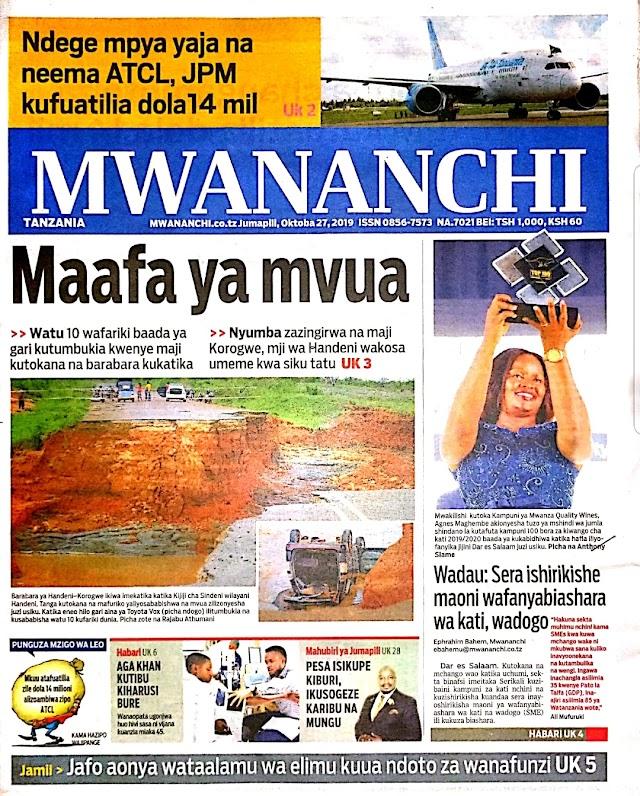 Habari Katika Magazeti Leo Jumapili October 27,2019.