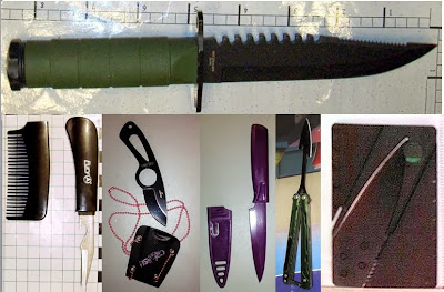 Top to Bottom - Left to Right: Knives Discovered at SLC, ACY, BWI, BWI, EWR, FLL
