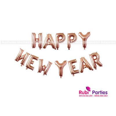 bong chu happy new year mau hong cam