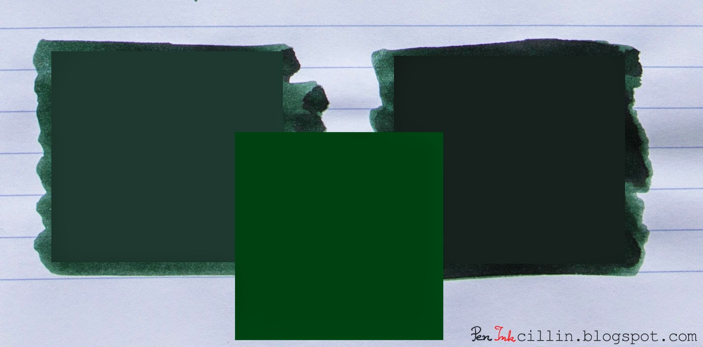 Diamine Green Black vs British Racing Green