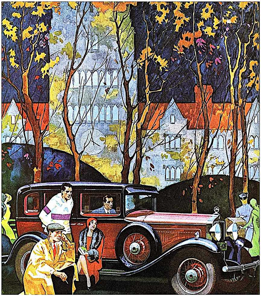 a 1930 Willys-Knight illustration with affluent youth