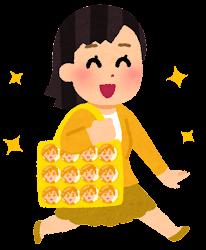 痛バッグを持つ人のイラスト(黄色)