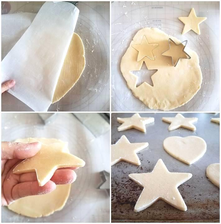 Galletas de azúcar haciendo las formas con cortadores en forma de estrella