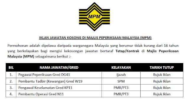 majlis peperiksaan malaysia jawatan kosong