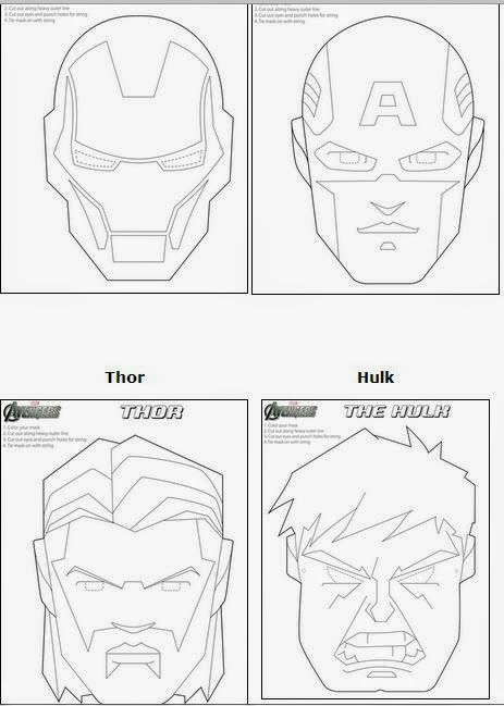 Avengers Free Printable Coloring Masks.