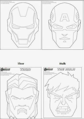 Vengadores: Máscaras para Colorear para Imprimir Gratis. | Oh My ...