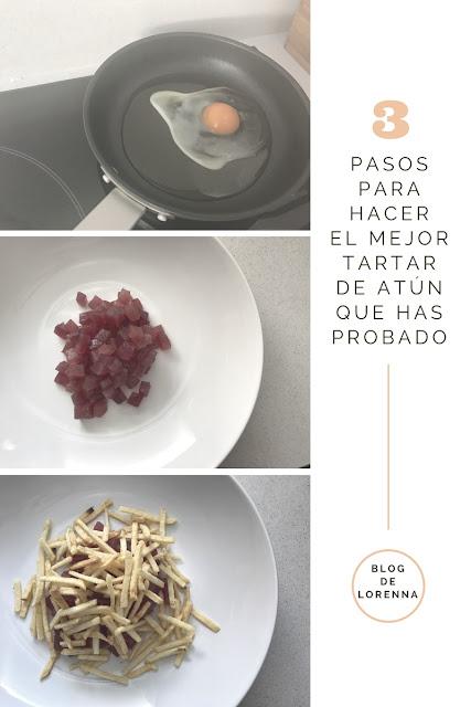 Tartar de atún rojo, huevo frito de codorniz y mayonesa Sriracha