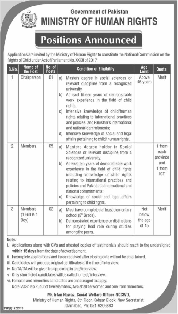 Latest Jobs in Ministry of Human Rights 2019