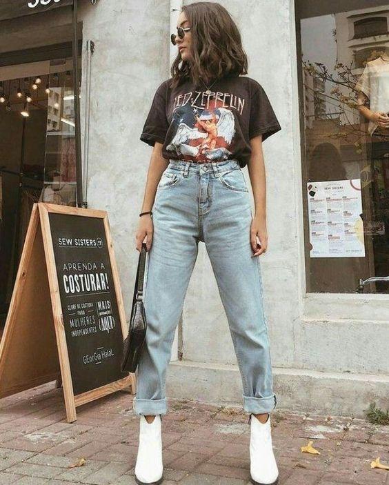 Look calça jeans e camiseta Led Zeppelin