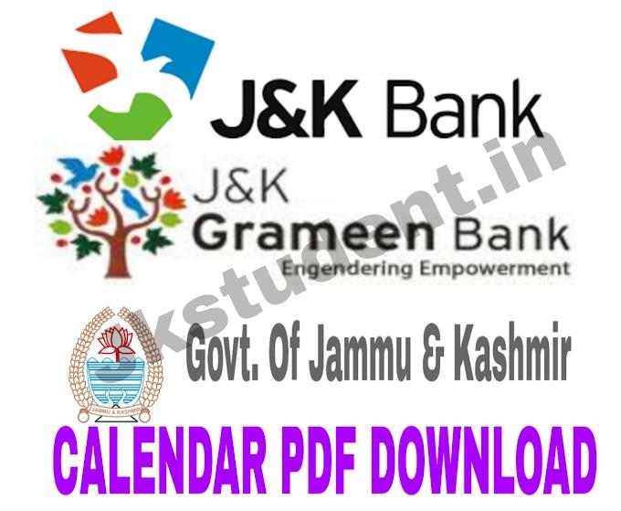 Download JKBANK , JK GRAMEEN BANK and Govt. Calendar PDF