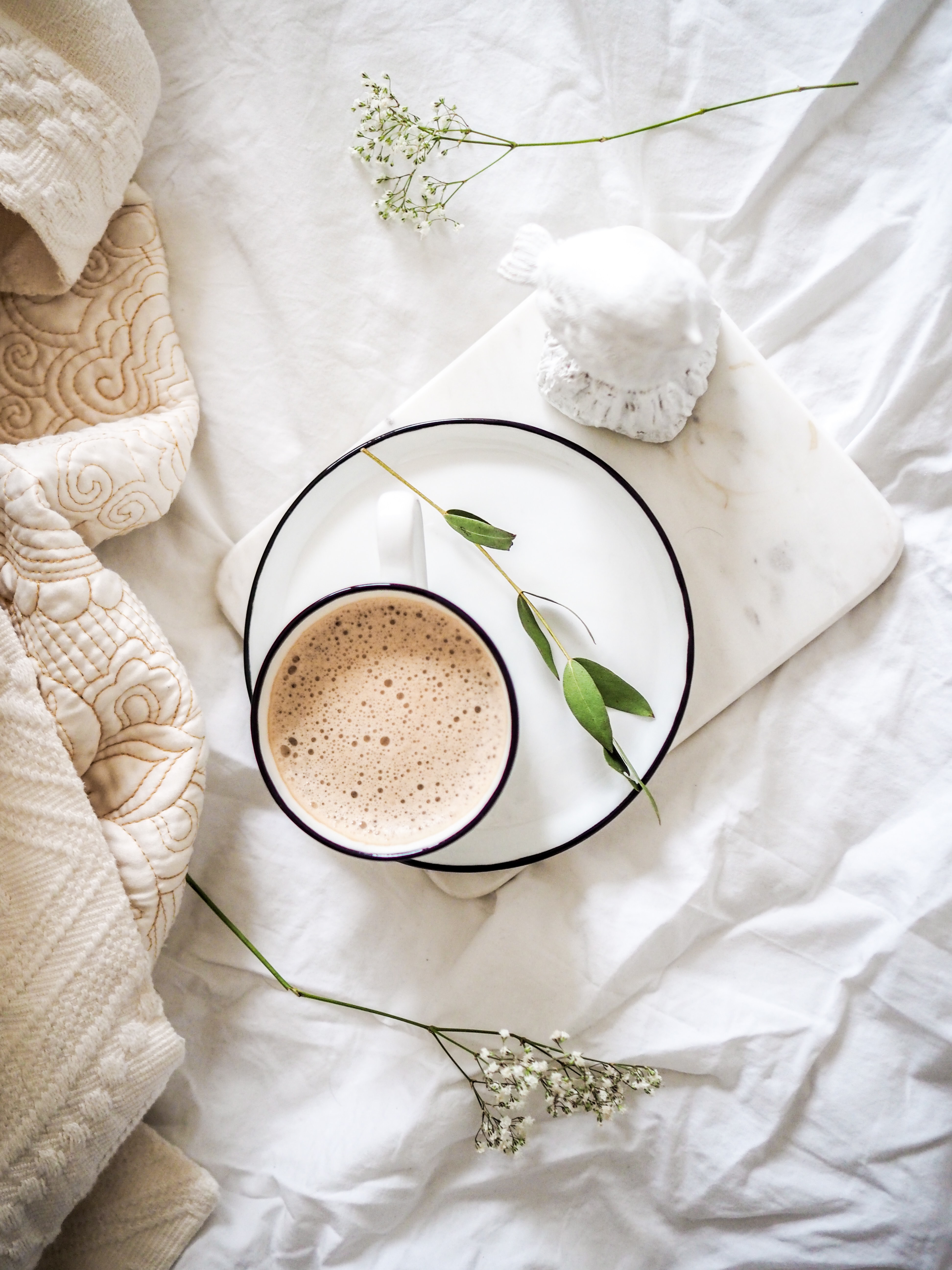 how to destress bedding coffee relax today