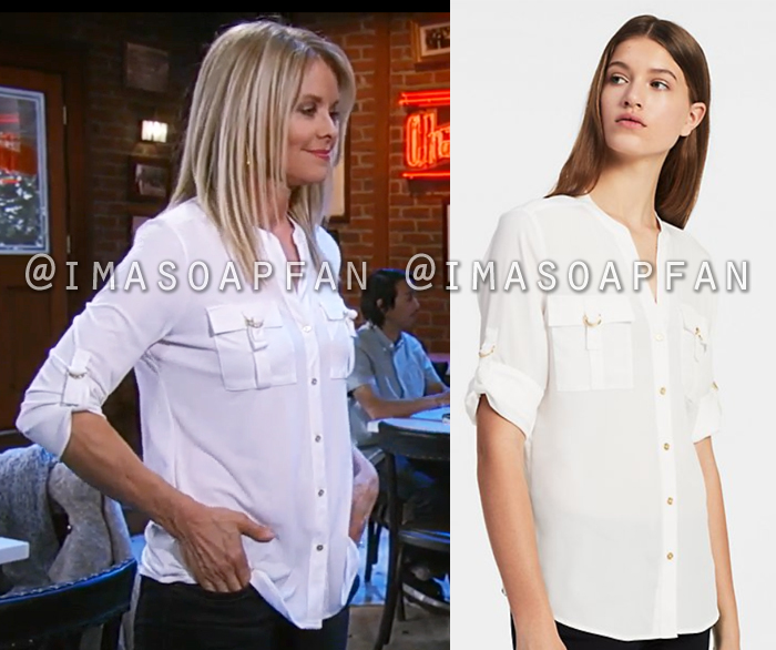 Felicia Scorpio, Kristina Wagner, White Shirt with D-Ring Accents, General Hospital, GH