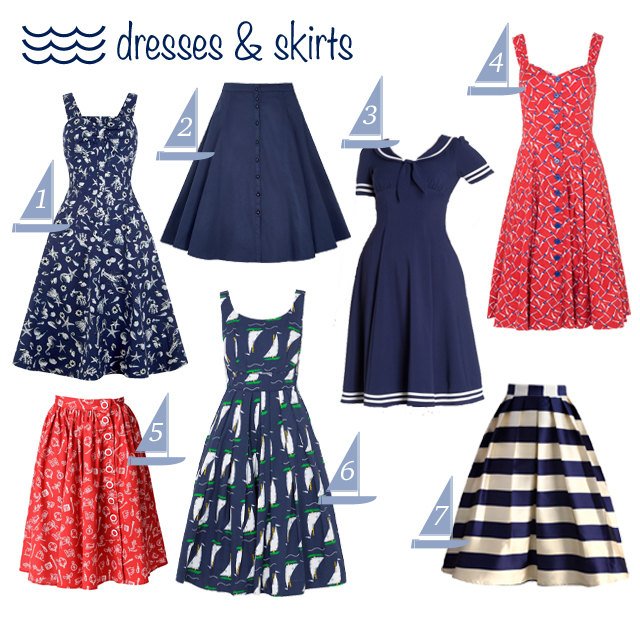 Nautical themed vintage style dresses and skirts