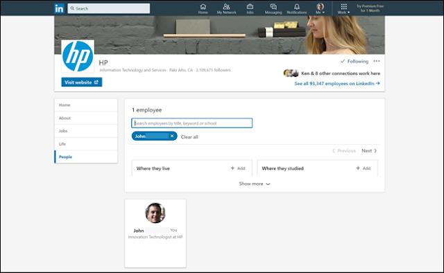 قائمة الموظف HP على LinkedIn ، والتي تبين لدينا ملف تعريف وهمية كموظف.