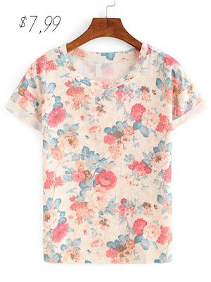 Floral Print Rolled Hem T-shirt