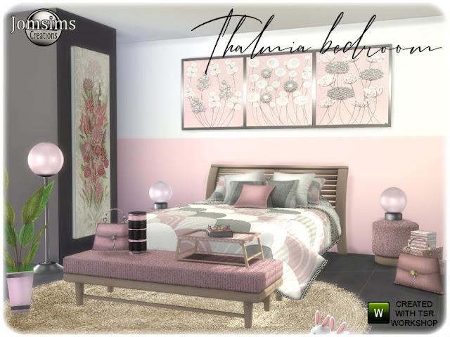 halmia Adult bedroom Спальня для взрослых Thalmia для The Sims 4 Спальня для взрослых Yslextius меняет цвет, чтобы изменить стиль. встроенный столик с двуспальной кроватью тумба. коврики, подушки, кровати. одеяло кровать. скульптура. корзина, камин. настенные росписи. настольная лампа. часть 2 кровать Новый уголок отдыха. Автор: jomsims