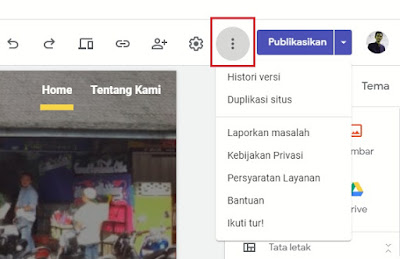 menu setting google sites