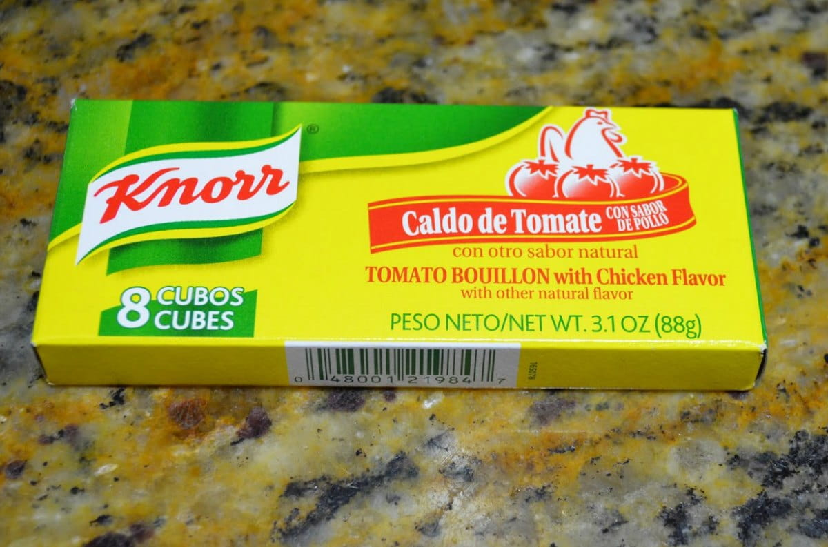 Knorr Caldo De Tomate or Knorr Tomato Bouillon with Chicken Cubes Packages.