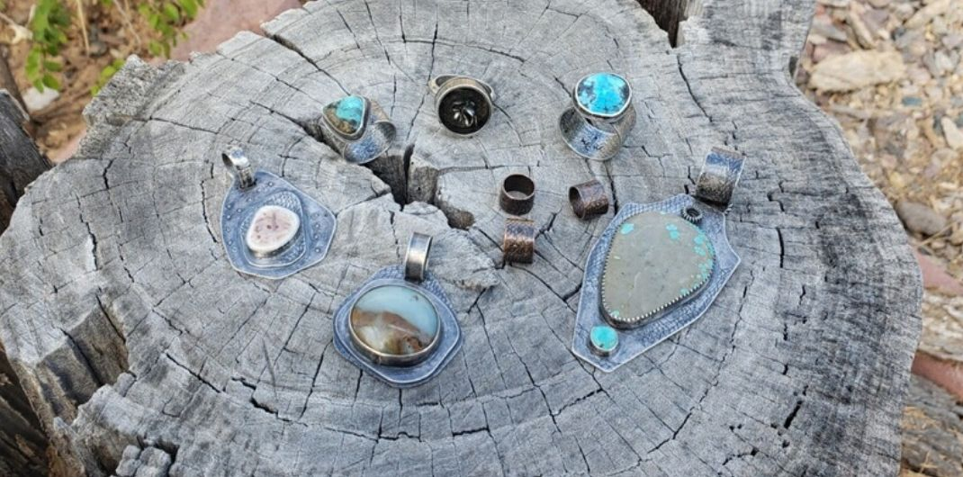 Silver pendants and rings