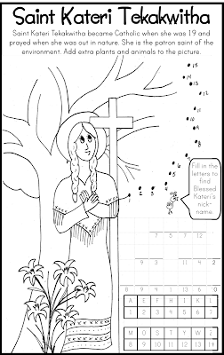 Saint Kateri Tekakwitha Coloring Page Catholic Kids Bulletin