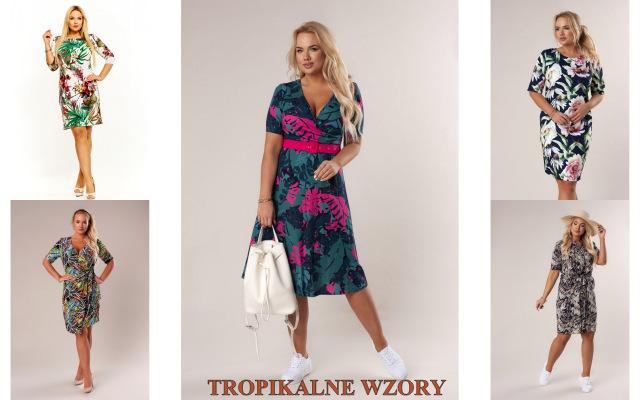 kolekcja sukienek plus size z motywami tropikalnymi marki laprim