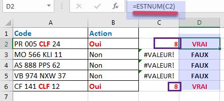 Utilisation de la fonction ESTNUM