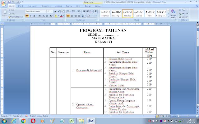 Prota / Program tahunan matematika kelas 6 kurikulum 2013