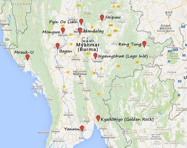 Guía Mapa Turístico de Myanmar
