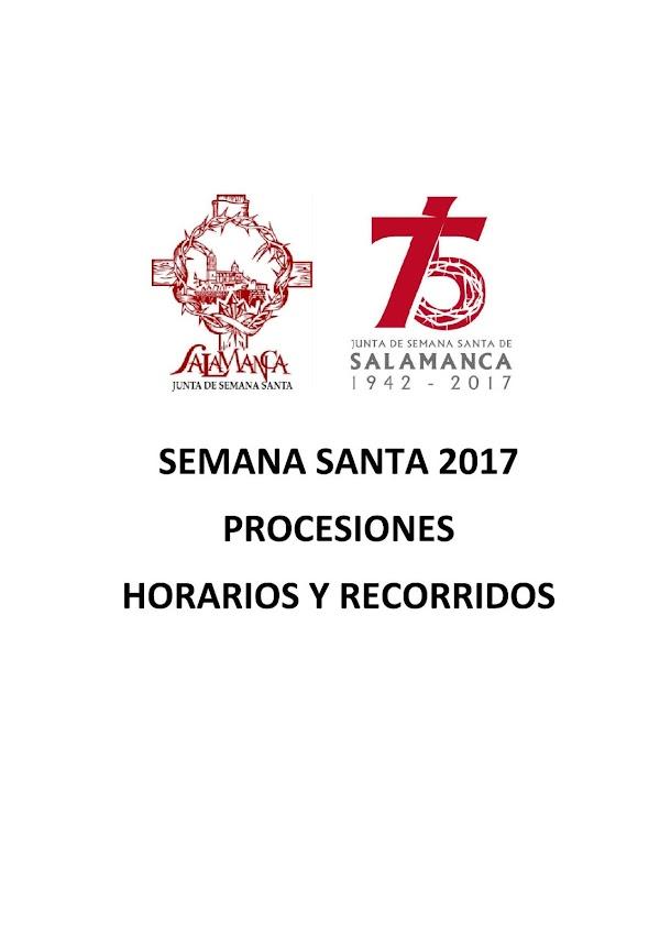 Programa, Horarios e Itinerarios Semana Santa Salamanca 2017